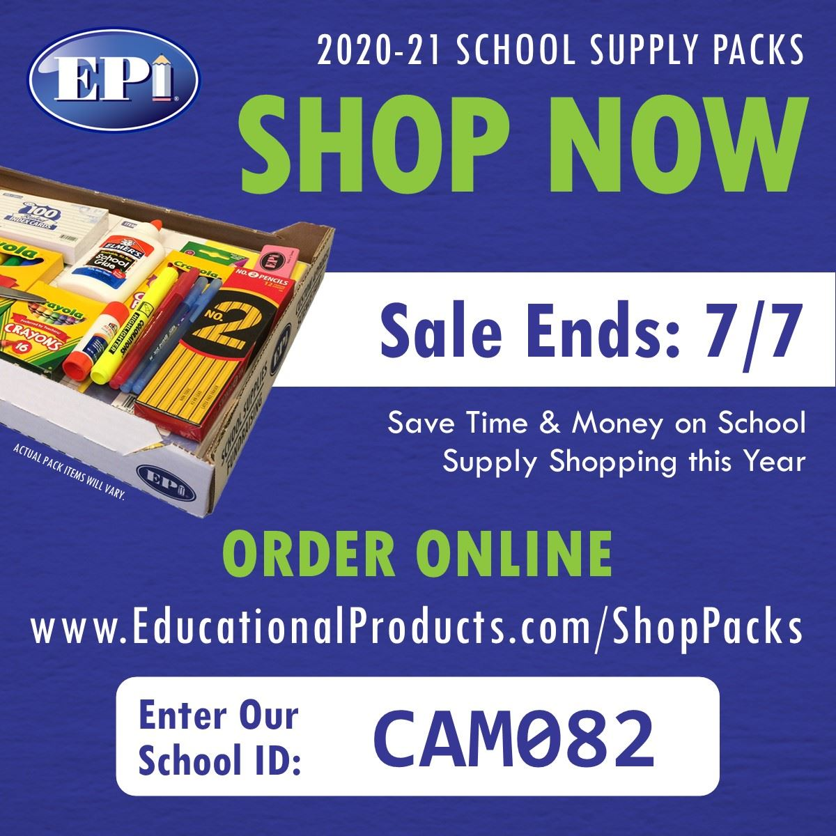 Order Your Prepackaged School Supplies 2020-2021