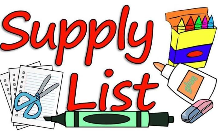 School Supply List 20-21
