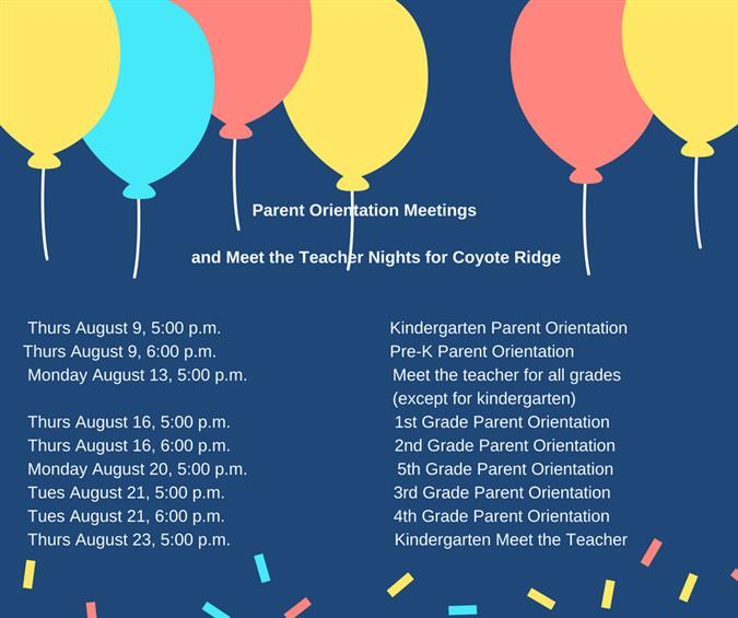 Parent Orientations and Meet the Teacher Nights