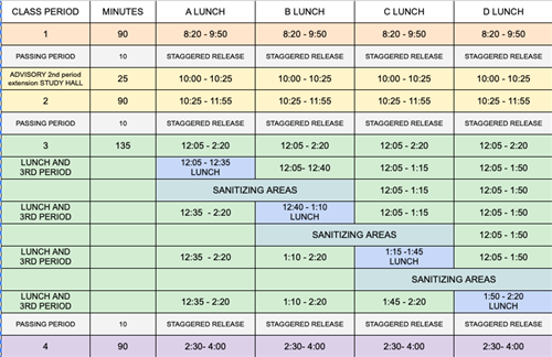 Bell Schedule-Expanded (updated 9/1)