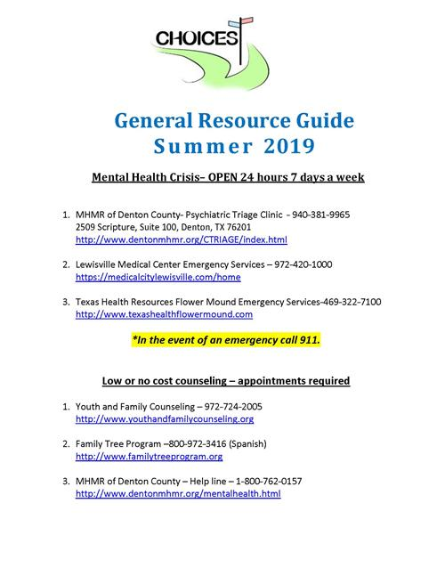 Summer Resource Guide pg. 1