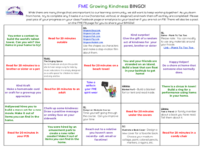 Link to FME Growing Kindness Bingo