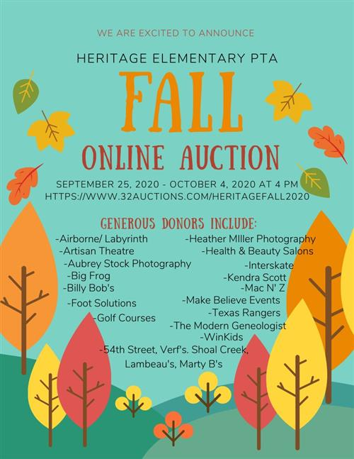 Heritage Fall Silent Auction