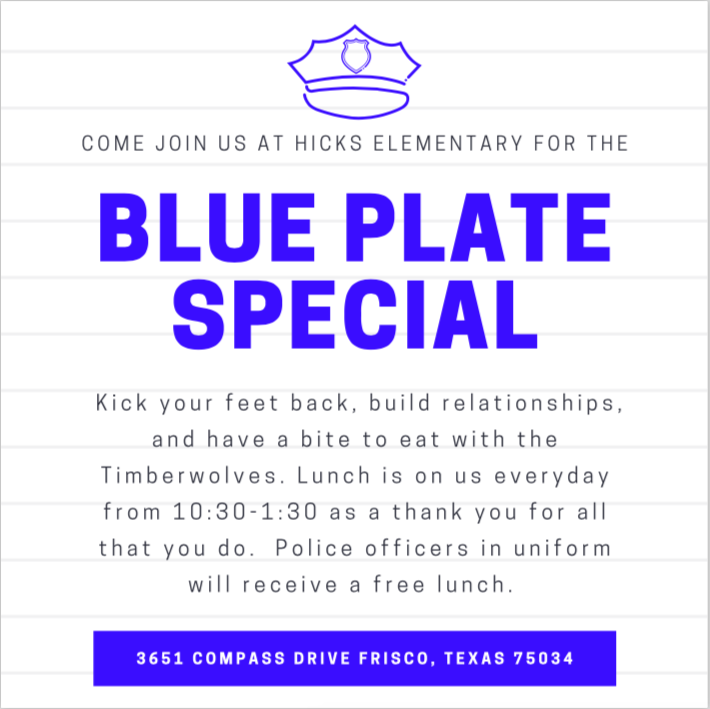 Blue Plate Special for Our Men & Women in Blue!