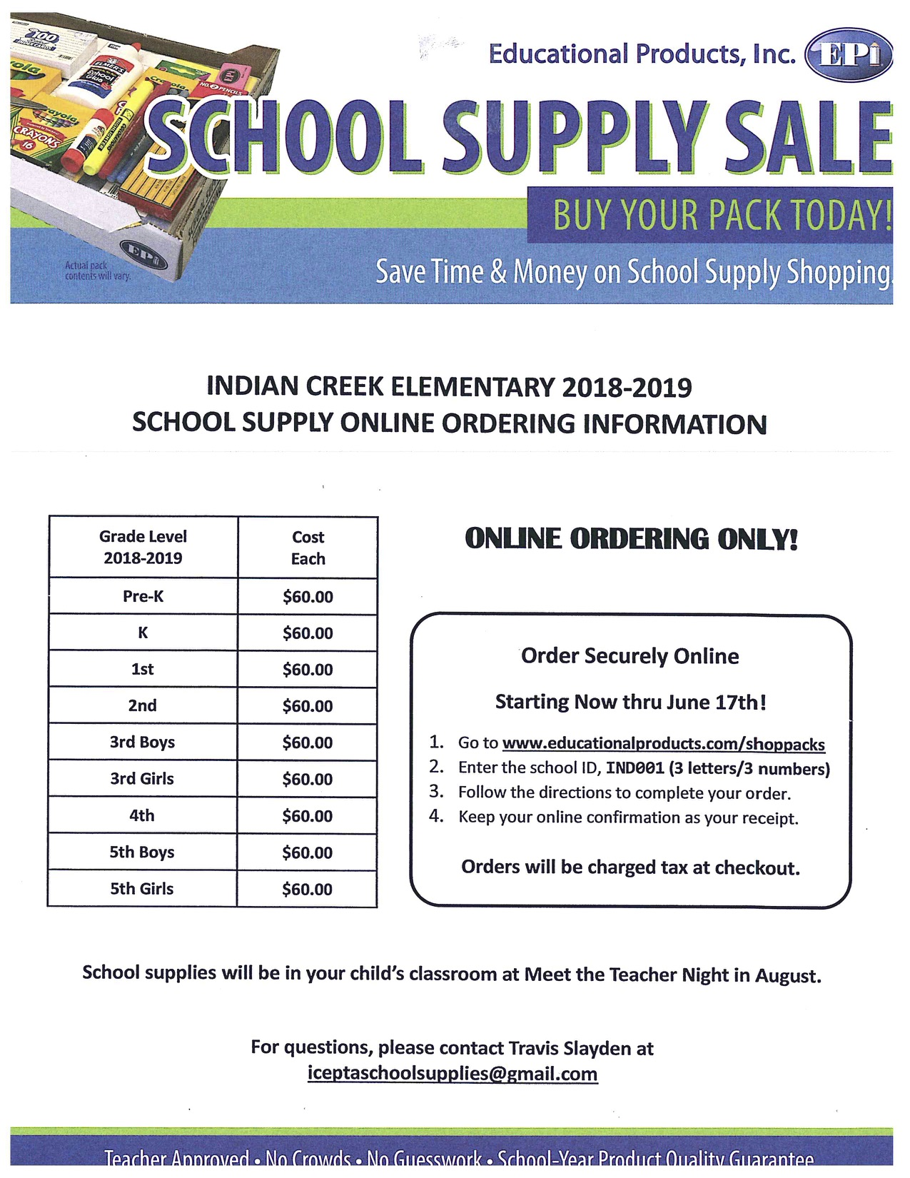 Don't forget to order your school supplies for next year!