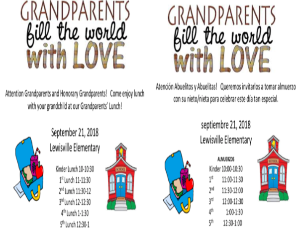 Attention Grandparents and Honorary Grandparents! Come enjoy lunch with your grandchild at our Grandparents' Lunch!