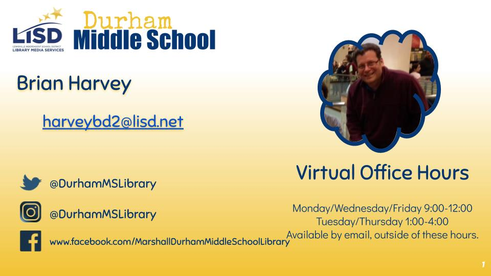 Brian Harvey, Librarian, email and social media information.