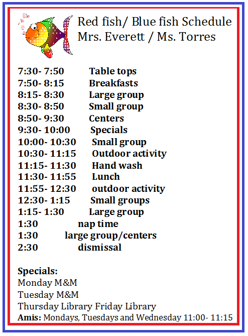 Red Fish Blue Fish Dual language Classes / Daily Schedule