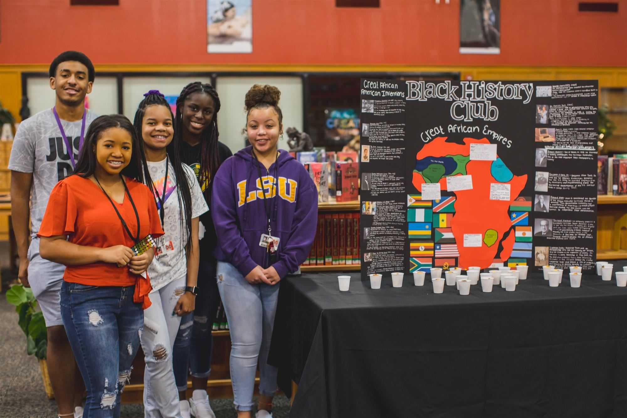 Marcus High School Black History Club members pose at Celebrate Marcus! 2019