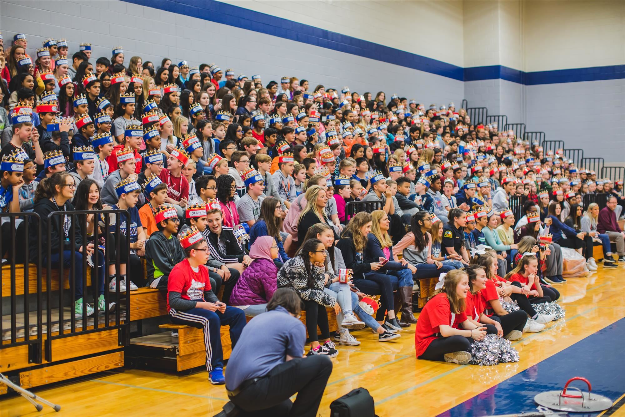 McKamy Middle School students watch Medieval Times Knights perform at their pep rally. 2019