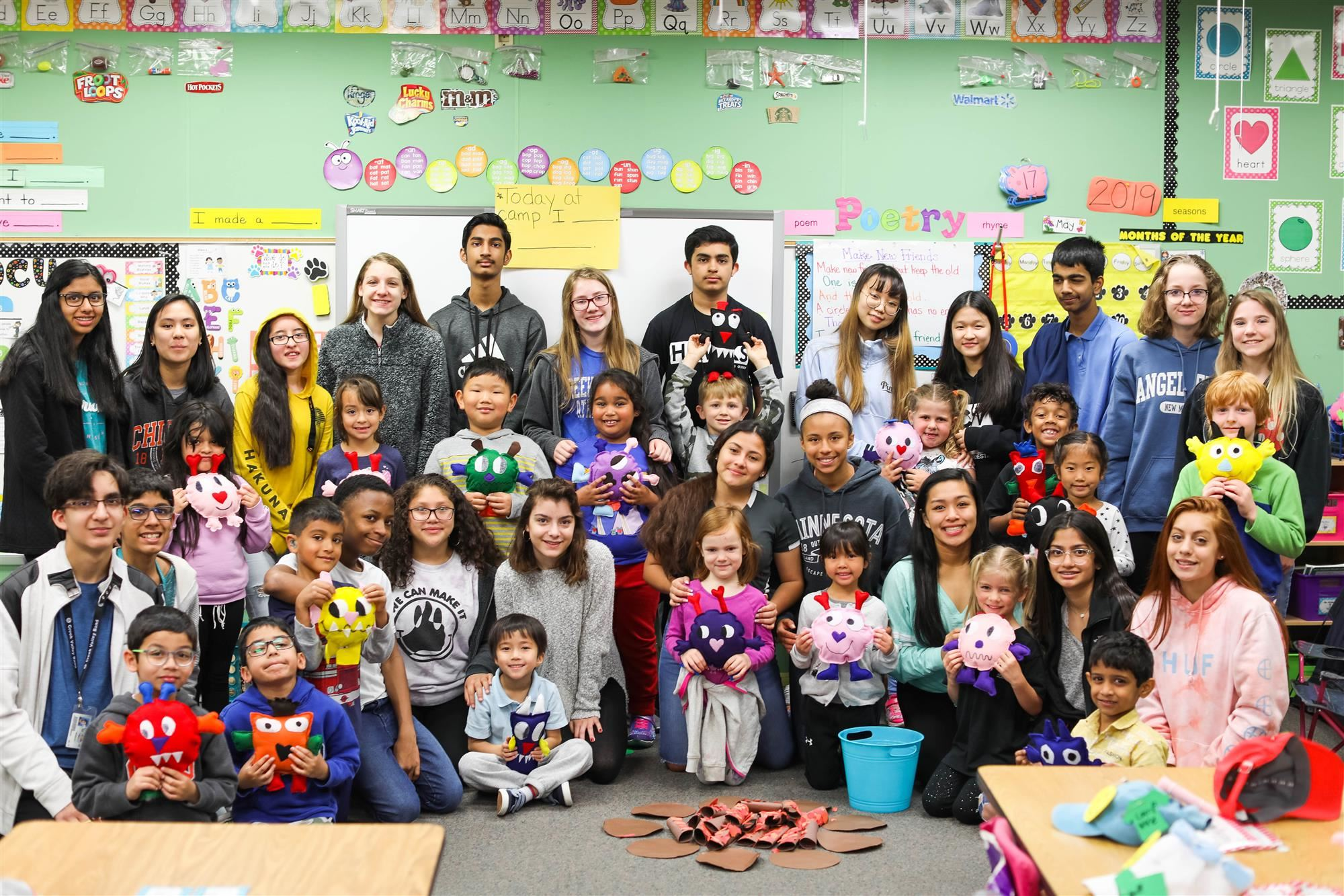 Creek Valley middle school students make stuffed monster dolls for Hebron Valley Elementary kindergartners. 2019