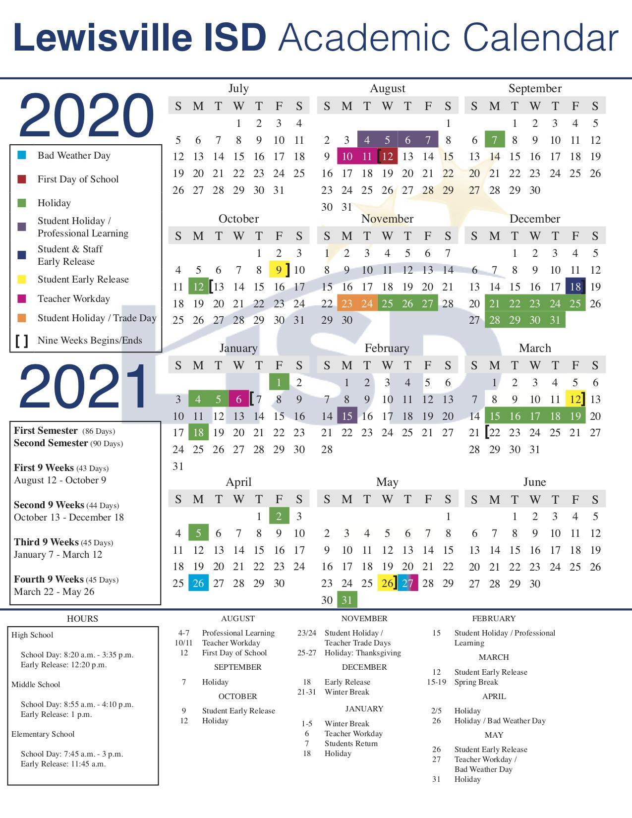 wylie isd calendar 2020