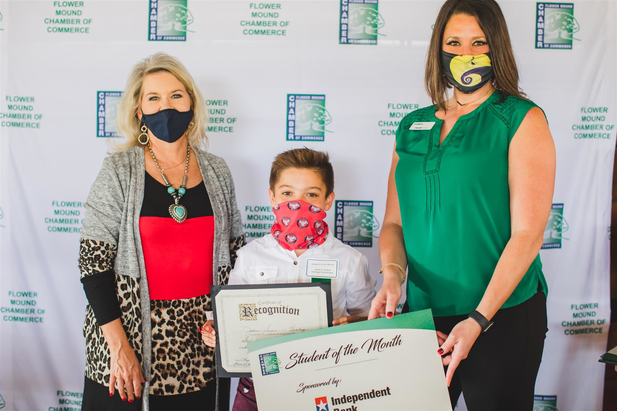 Heritage Elementary 5th-Grader Jackson Sasser named Flower Mound Chamber October Student of the Month.