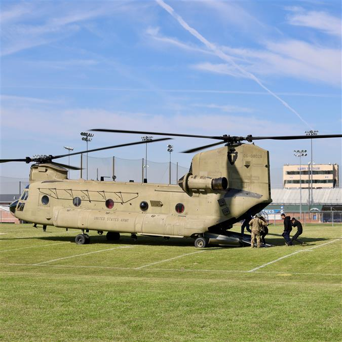 WATCH: CBS 11 Highlights Hebron High School's Experience with CH-47 Chinook Helicopter