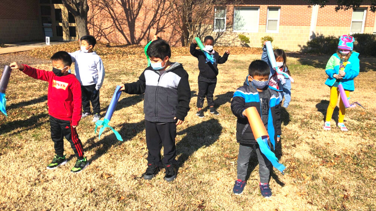 Creekside Elementary Students Test Wind Socks