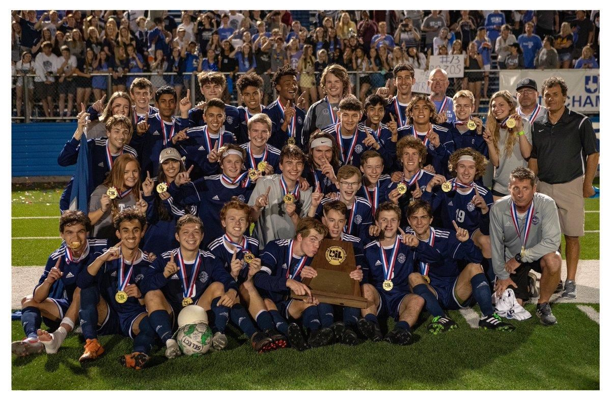 Flower Mound High School boys soccer team win 2019 state championship.