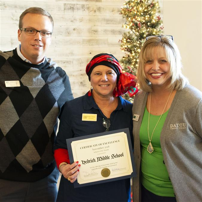Hedrick Middle School Named Lewisville Area Chamber of Commerce/DATCU November School of the Month