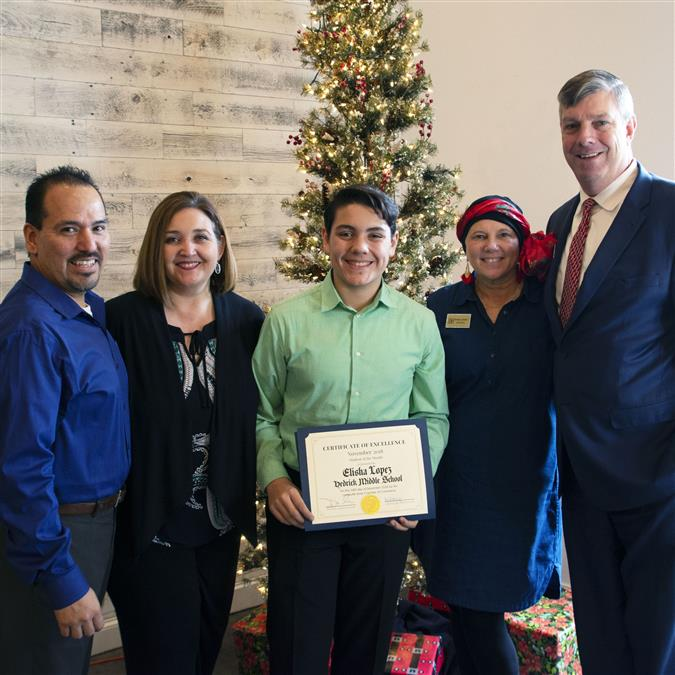 Hedrick Middle School's Lopez Named Lewisville Area Chamber of Commerce/TIAA November Student of the Month