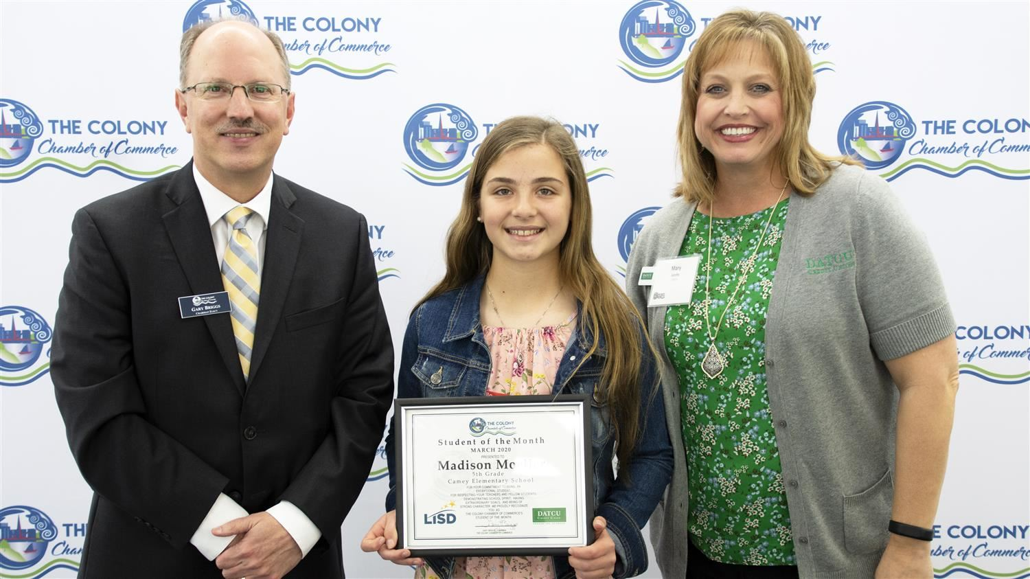 Camey Elementary's Moeller Named The Colony Chamber of Commerce/DATCU Credit Union March Student of the Month