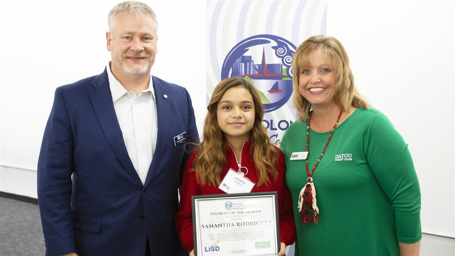 Lakeview Middle School's Rodriguez Named The Colony Chamber of Commerce/DATCU Credit Union December Student of the Month