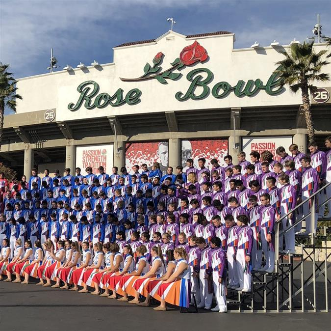 Flower Mound Band poses for 2019 Rose Parade photo