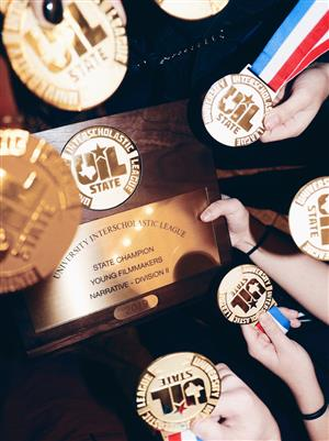 Hebron HS Holds UIL Film State Trophy
