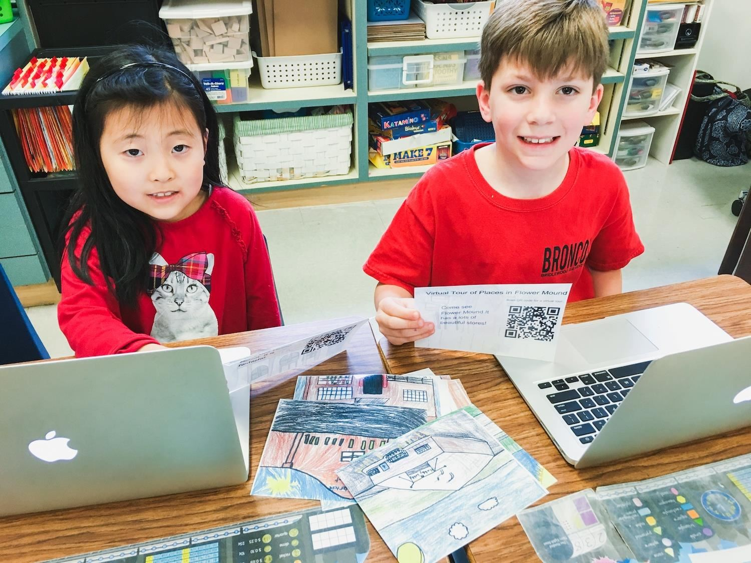 Bridlewood students work on laptops