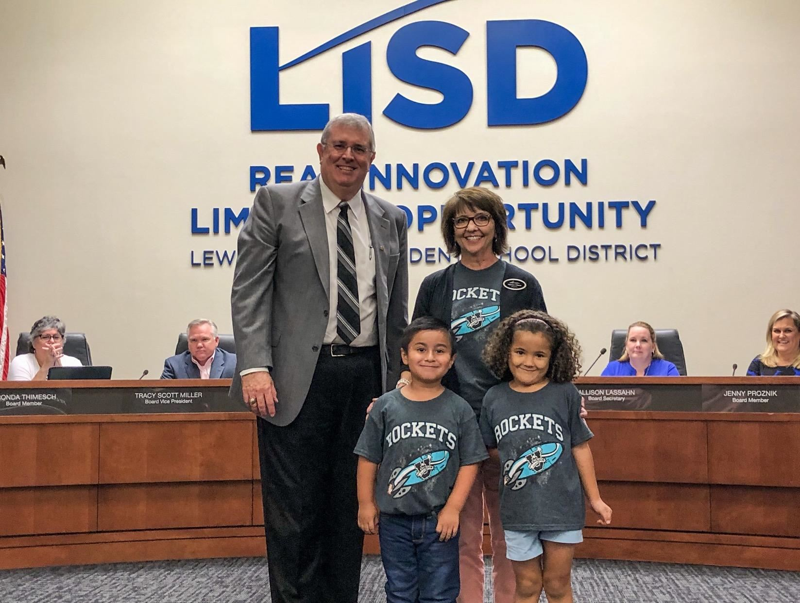 Southridge Elementary students and principal pose with LISD Superintendent Dr. Kevin Rogers at the Oct. 21 Board Meeting.