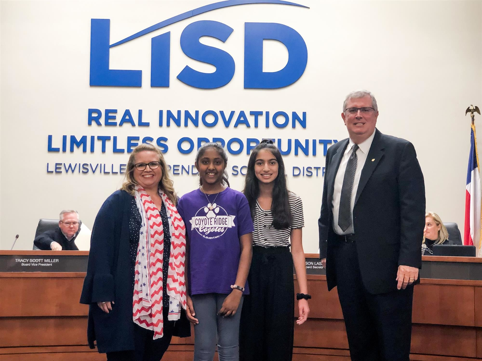 Coyote Ridge Elementary students pose with their principal and LISD Superintendent. 2019