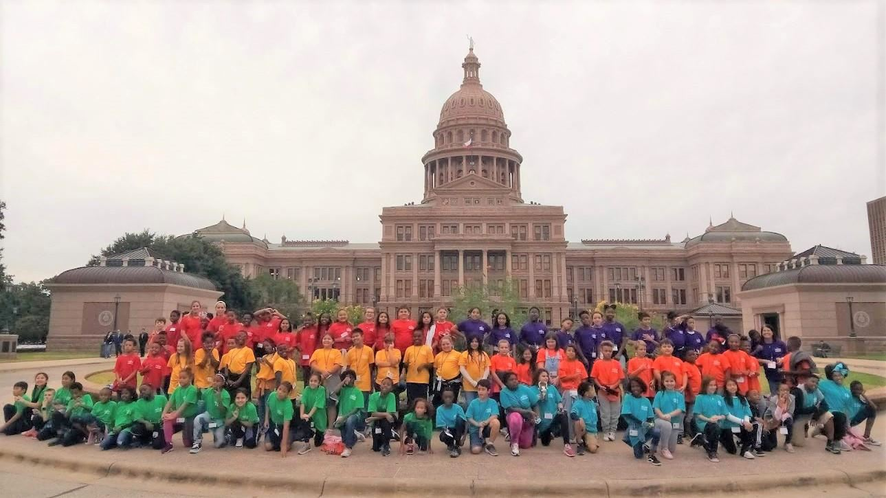 Rockbrook Elementary Fourth-Graders pose outside the Texas State Capitol. 2019