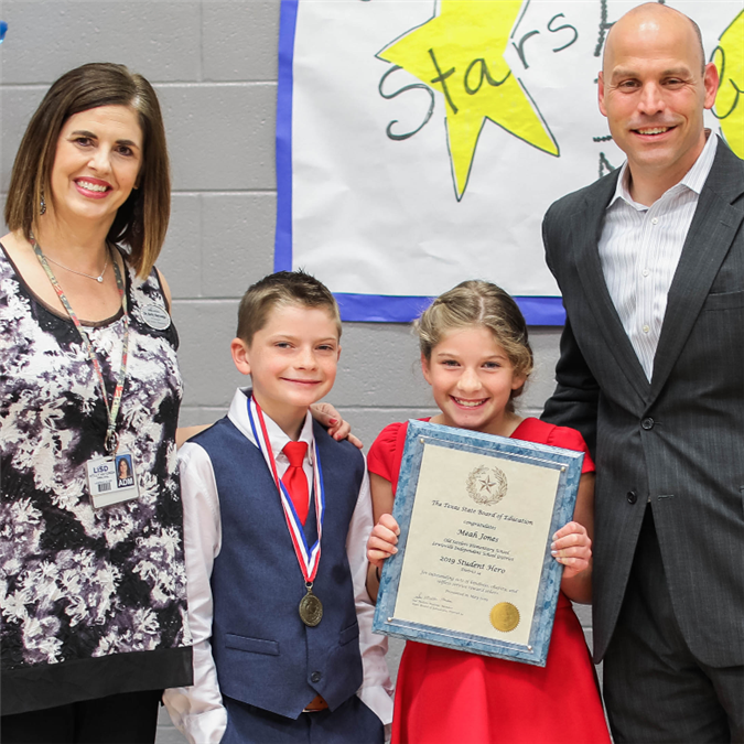 Old Settlers Elementary Student Named State Board of Education Student Hero