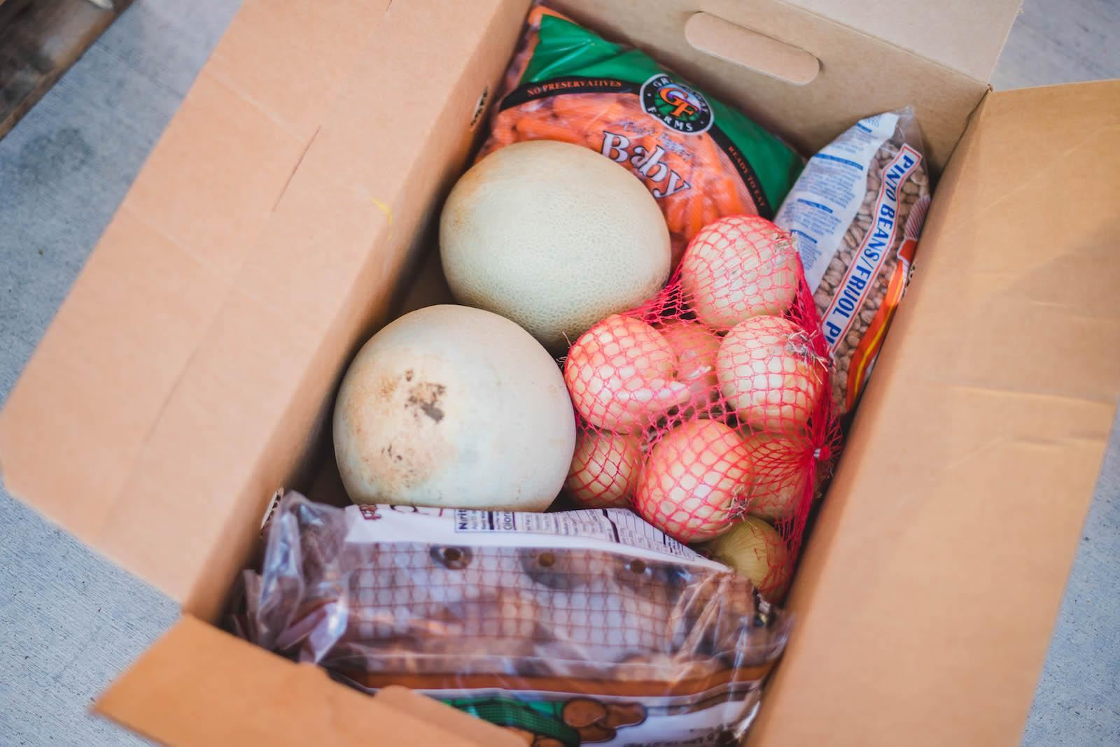 Box of fresh foods for families