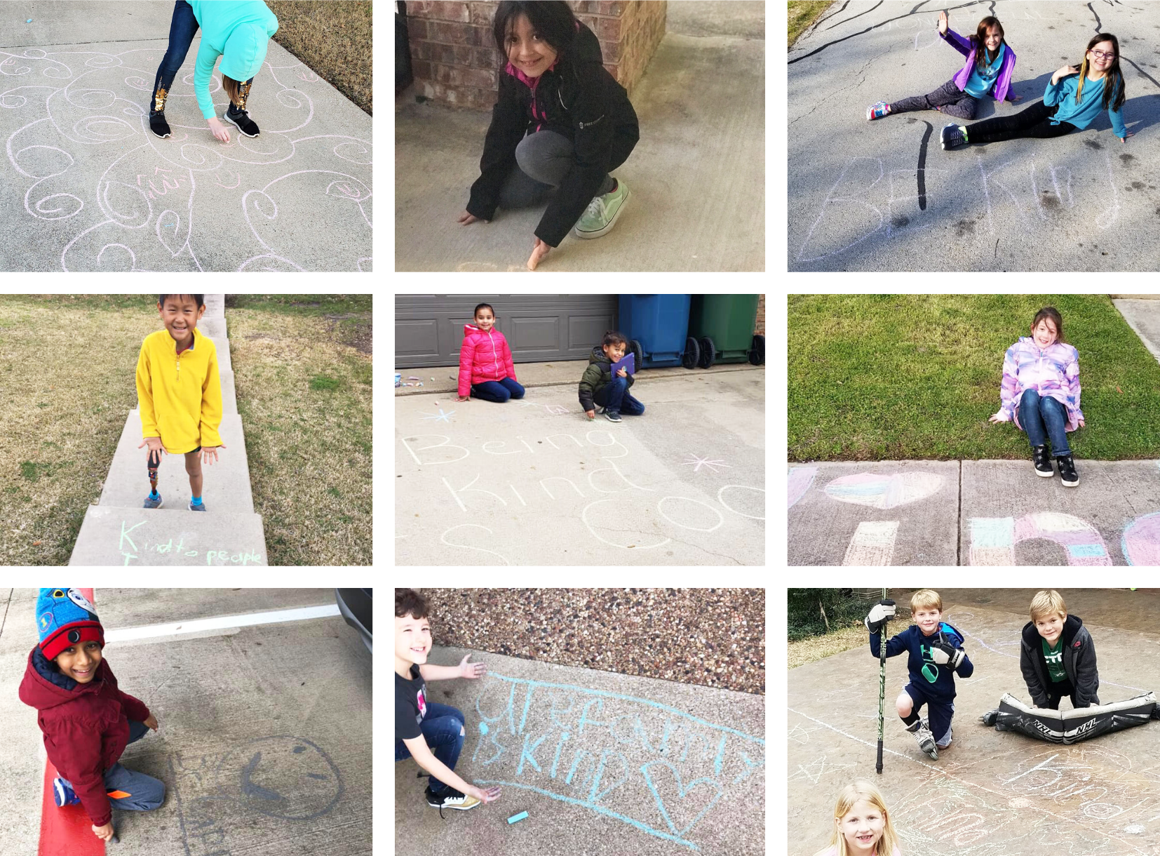 Students smile with their sidewalk chalk creations