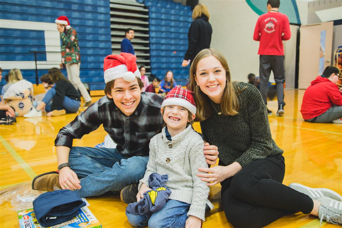 Central Elementary students enjoy holiday party with Flower Mound HS