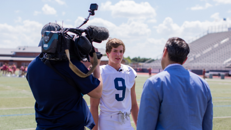 Flower Mound High School football player Carson Winters talks with NBC DFW reporter Kris Gutierrez.