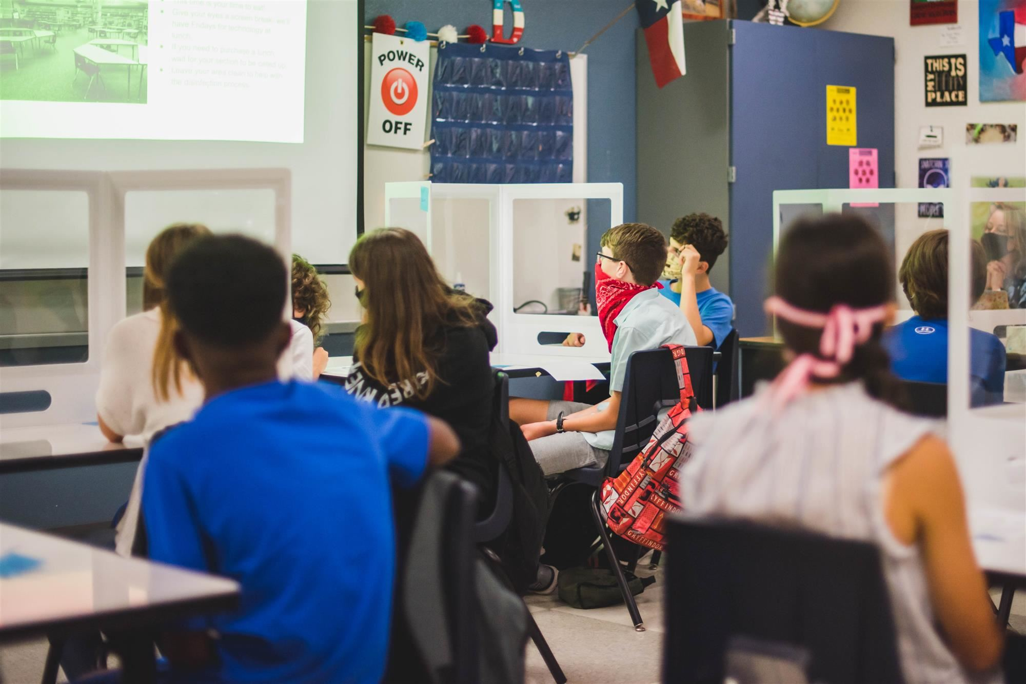 Class looks at projector on first day of school
