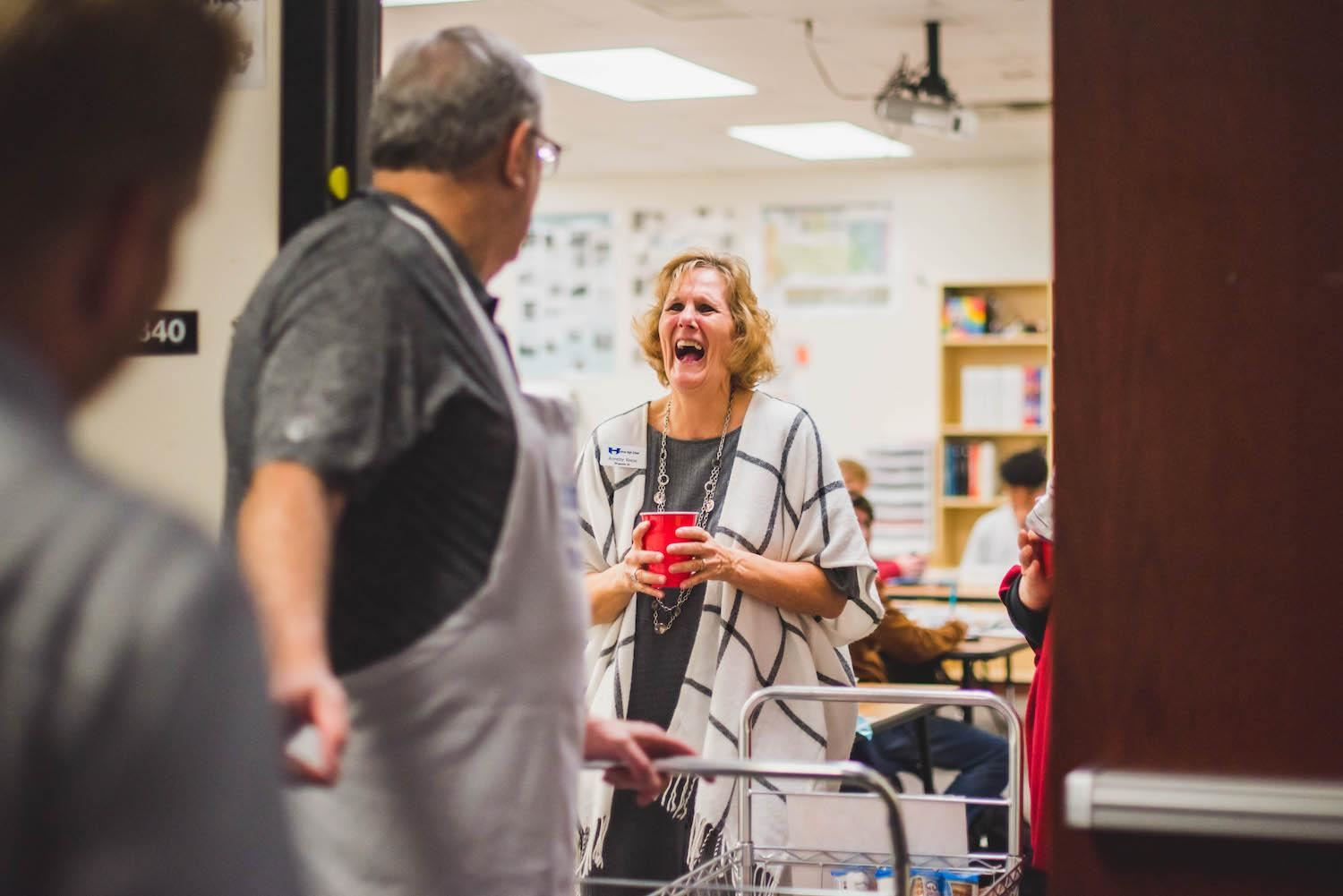 Teacher surprised by treat trolley