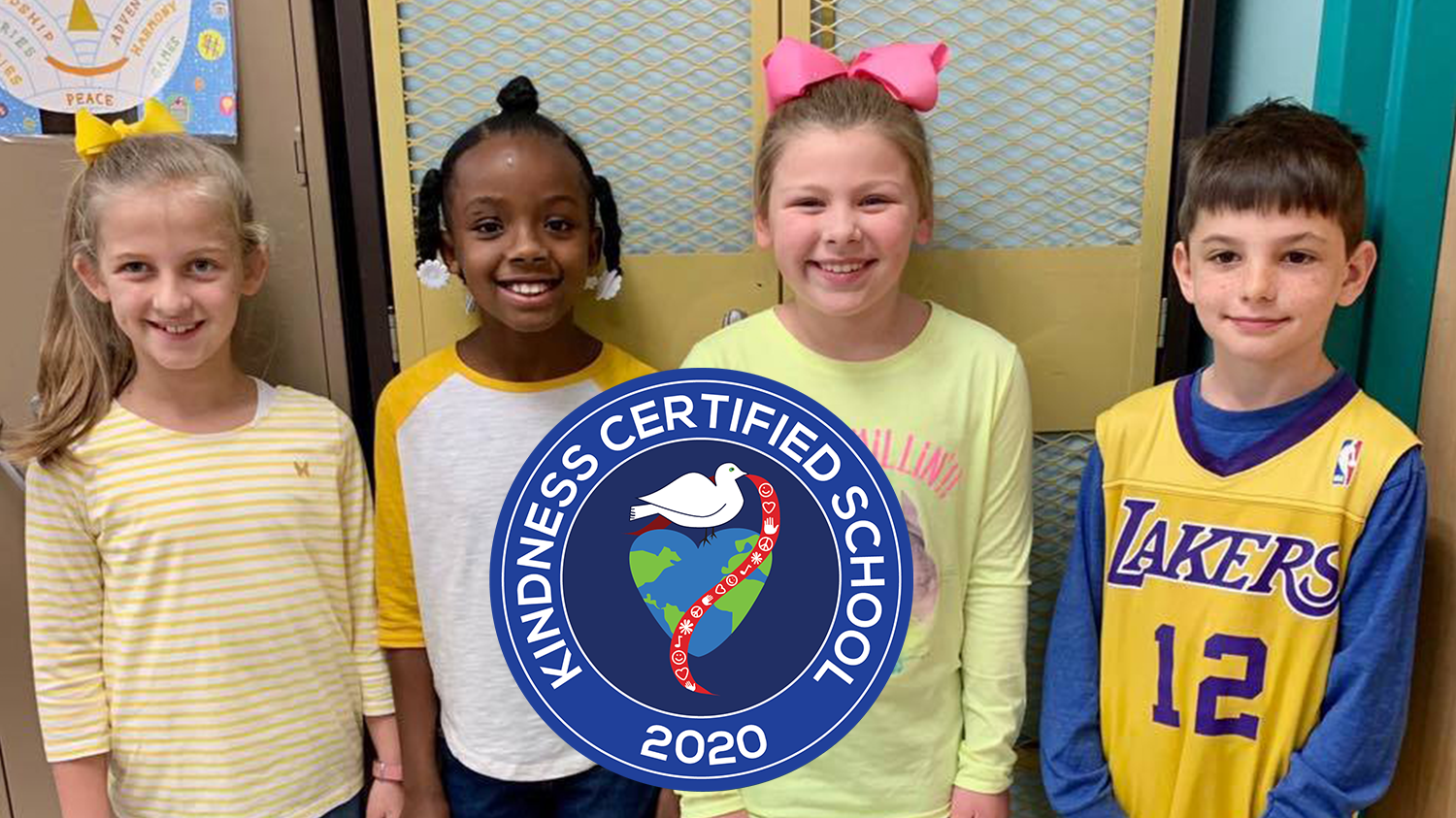 4 students with Kindness Certified Seal