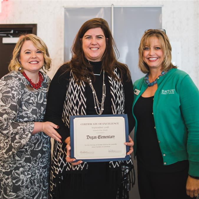 Degan Elementary Named Lewisville Area Chamber of Commerce/DATCU September School of the Month