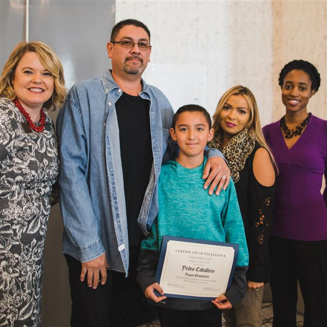 Degan Elementary's Caballero Named Lewisville Area Chamber of Commerce/TIAA September Student of the Month