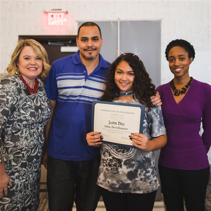 College Street Elementary's Diaz Named Lewisville Area Chamber of Commerce/TIAA October Student of the Month