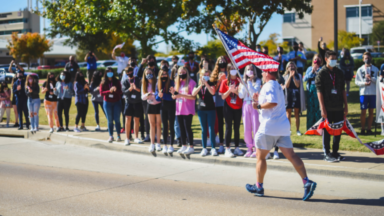 Marcus 9th Cheers Along Veterans Day Relay Run