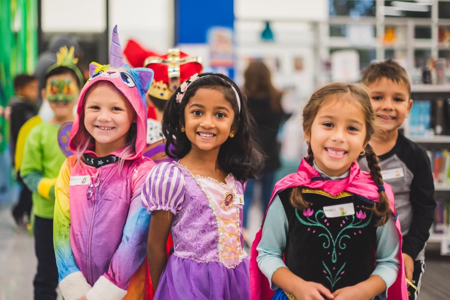 Students smiles dressed as fairy tale characters