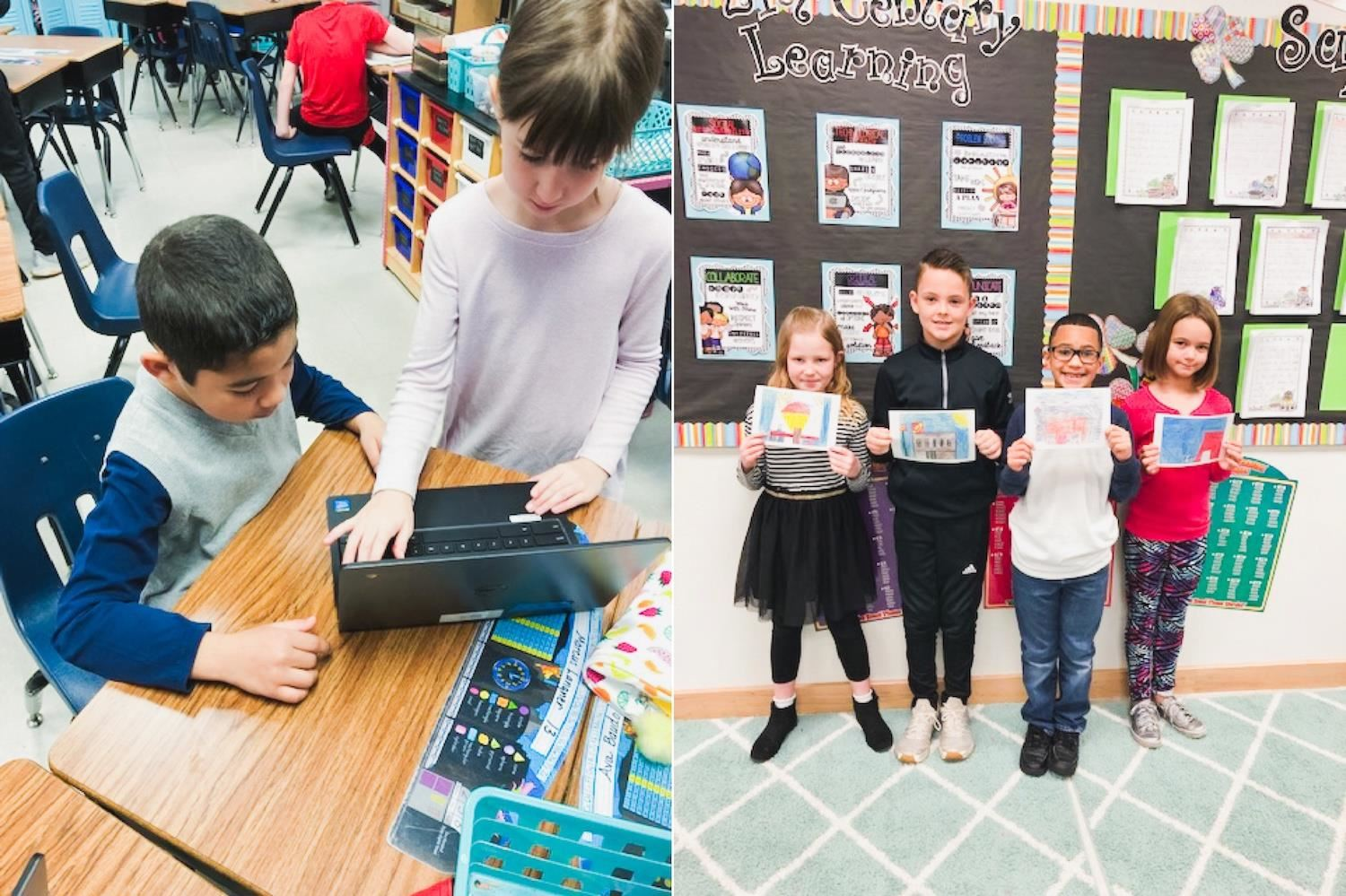 Students share laptop and hold up artwork postcards