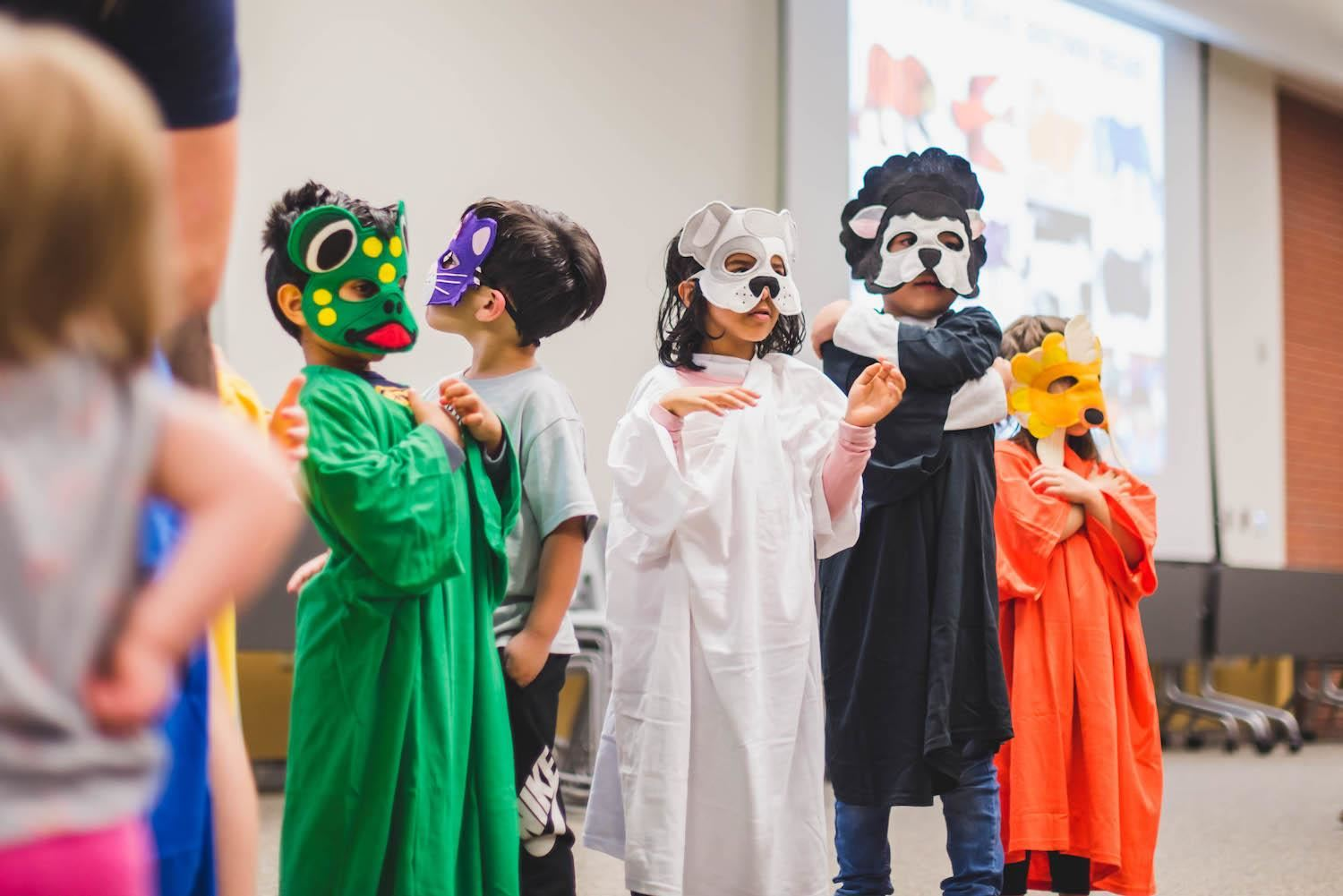 Students dressed up as animals with masks