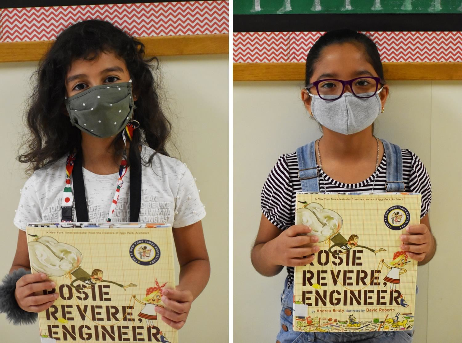 "Students hold ""Rosie Revere Engineer"" books"