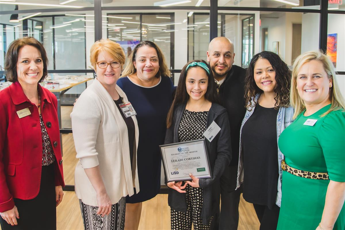 Leilani Cortinas named Student of the Month.