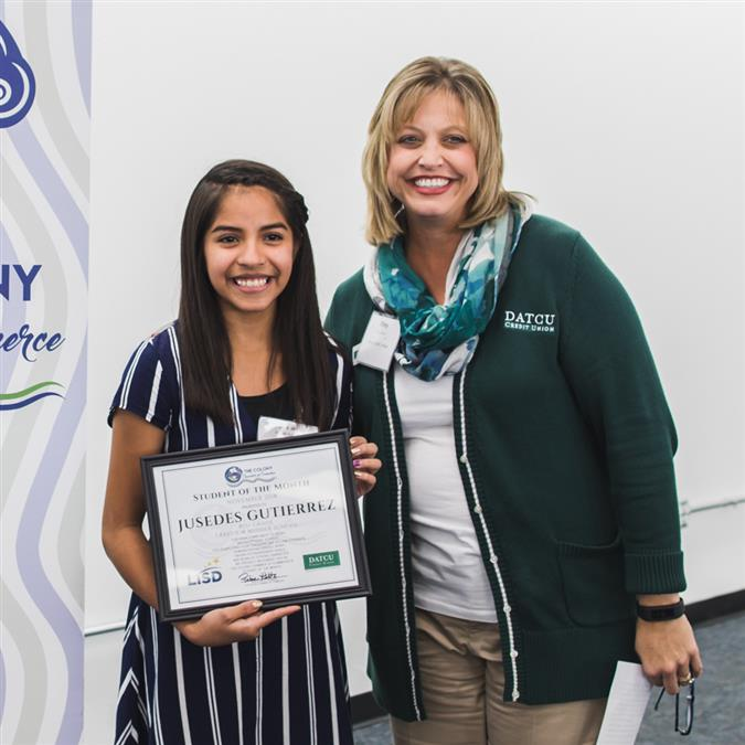 Lakeview Middle School's Jusedes Gutierrez Named The Colony Chamber of Commerce/DATCU Credit Union November Student of the Month