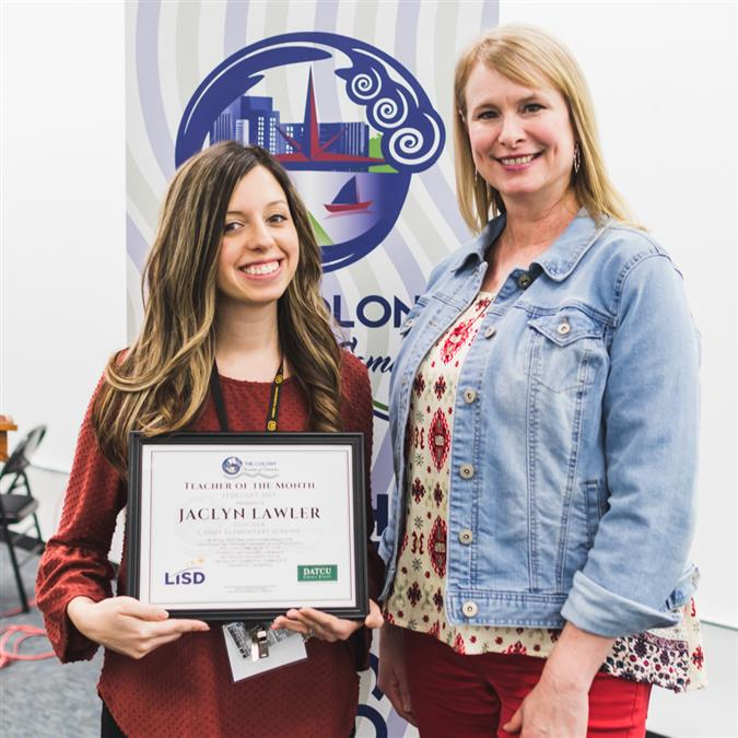 Camey Elementary's Jaclyn Lawler Named The Colony Chamber of Commerce/DATCU Credit Union February Teacher of the Month