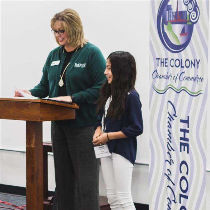 Camey Elementary's Alazeih Gomez Named The Colony Chamber of Commerce/DATCU Credit Union February Student of the Month